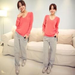 V-Neck Long Sleeve Pocket Soft Sweater