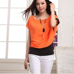 Summer Short Sleeve Chiffon Tops