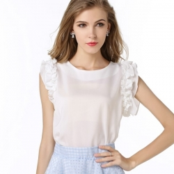 Casual Bow-Knot Chiffon Sleeveless Top