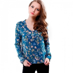 Long Sleeve Floral Printed Bule Top