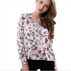 Long Sleeve Floral Printed Cream Top