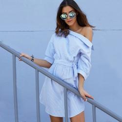 One Shoulder Blue Striped Women Dress
