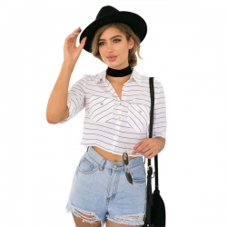 Striped Short  Casual Crop Shirt