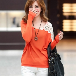 Lovely Lace O-Neck Patchwork Batwing Top