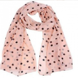 Women Burgundy Polka Dot Chiffon Thin Wraps Long Shawl Soft Scarf