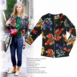 Printed Flower Long Sleeve Black Zipper Jacket