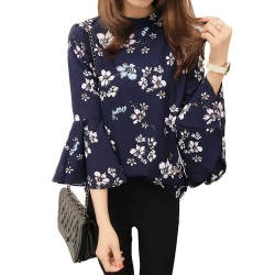 Flare Sleeve Floral Blue Top