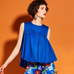 Ruffles Loose O Neck Blue Tops