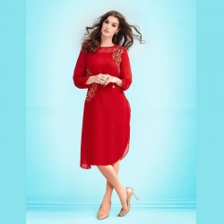 Stylish Neck Folded Sleeve Party Wear Kurta