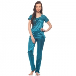 Turquoise Lacy Satin Plain Nightwear Suit