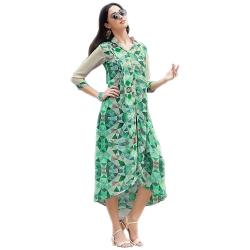 Green Georgette Printed Designer Kurta
