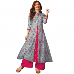 Littledesire New Stylish Sky Blue And Pink Printed Long Kurta