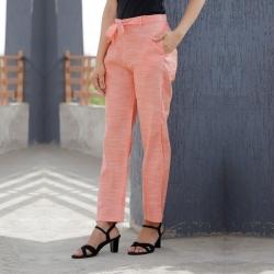 Littledesire Women Linen Silky Slub Solid Pant