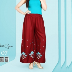 Littledesire Women Rayon Straight Embroidered Palazzo