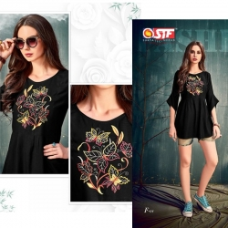 Littledesire Round Neck Embroidered Black Top