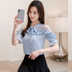 Littledesire Stylish Bow Tie Neck Ruffles Sleeve Top