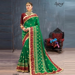 Littledesire Embroidered Bangalori Festival Silk Saree
