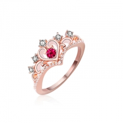 Littledesire Love Heart Crystal Queen Crown Ring