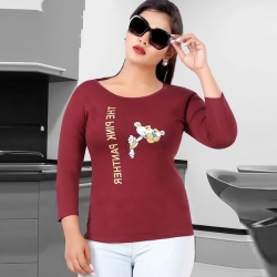 Littledesire Cartoon Print Cotton Women Maroon T-Shirt