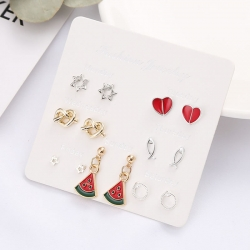 Creative Fruits Banana Watermelon Drop Earrings 7 pcs Set