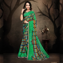 Littledesire Rennial Printed Green Saree With Blouse