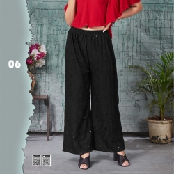 Embroidered Sequence Work Straight Black Palazzo