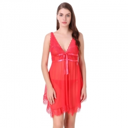Deep V-Neck Short Babydoll Sleepwear Dress