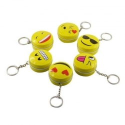 Smiley Emoji Round Metal Tin Keychain Mini Box Pack of 3