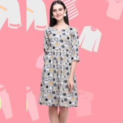 Butterfly Short Sleeve Printed Fashion Dress