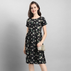 Black Crepe Floral Print A-line & Flare Dress