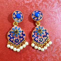 Golden Plated Blue Stone Pearls Earrings