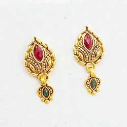Golden Plated Stone Stud Earrings