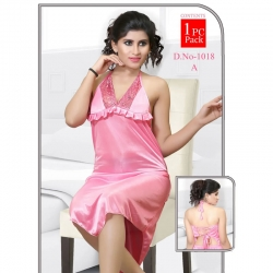 Lace Halter Neck Sleepwear Satin Nighty Dress