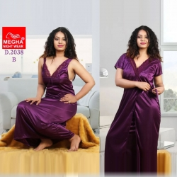 Deep V-Neck Satin Long Wrap Gown & Nighty 2pcs