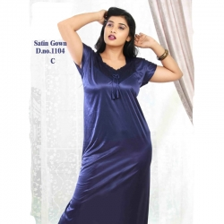 Soft Silky Short Sleeve Satin Nighty