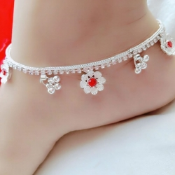 Silver Plated Red Stone Payal