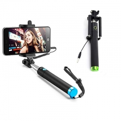 Selfie Stick Mobile Phone Clicking Photos Making Video & Attached AUX Cable