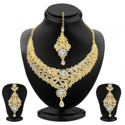 Gold Plated Floral Design Austrian Diamond Necklace Set