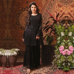 Embroidered Flared Viscose Georgette Kurta Sharara Set
