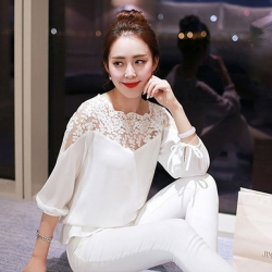 Fashion Hollow Out Elegant Lace Chiffon Top