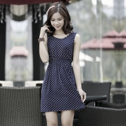 Street Fashion Polka Dot Printed Sleeveless Dress