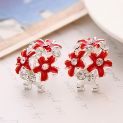 Sexy Beautiful Hot Red Cute Flower Silver Plated Earrings