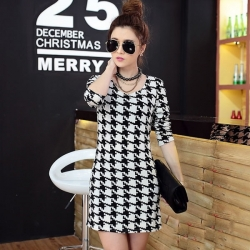 Houndstooth Casual Cashmere Turtleneck Dress