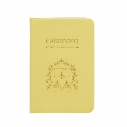 Yellow PU Leather Passport or ID Card Cover Holder (Be Eco Traveler for Earth )