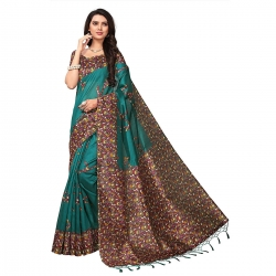 Kashmiri Poly Silk Printed Saree With Blouse