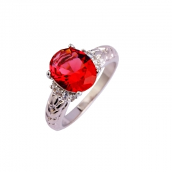 Ruby Spinel White Topaz CZ Silver Plated Ring