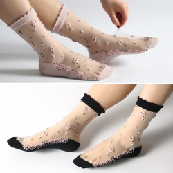 Crystal Silk Transparent Lace Socks -2 Pairs