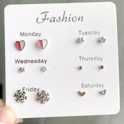 Littledesire Cute Stars Heart Crystal Stud Earrings 6 pcs