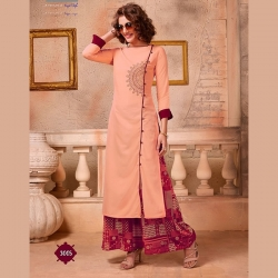 Littledesire Printed Work A-Line Kurta With  Palazzo