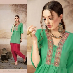Littledesire Embroidered Work Green Short Kurti Top